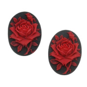 Lucite Oval Cameo Black With Red Rose 25X18mm