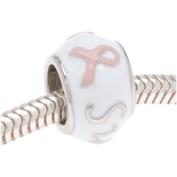 Silver Tone White Enamel Pink Breast Cancer Ribbon 'Survivor' Message Bead - European Style Large Hole