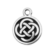 TierraCast Fine Silver Plated Pewter Celtic Round Charm 15mm