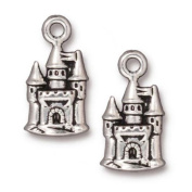 TierraCast Fine Silver Plated Pewter Fairy Castle Charm 21mm