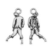 TierraCast Antiqued Silver Lead-Free Charm - Terrorising Zombie Halloween 26mm