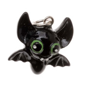 Hand Painted 3D Resin Charm Black Bat W/ Green Eyes Lightweight 19mm