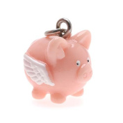 Hand Painted 3-D Flying Pig Charm Lightweight 17mm
