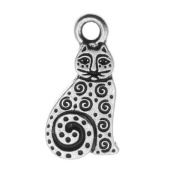 TierraCast Fine Silver Plated Pewter Art Spiral Cat Charm 19mm