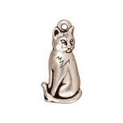 TierraCast Fine Silver Plated Pewter Sitting Cat Charm 22mm