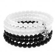 Star Charm Memory Wire Bracelet (Blk/White) - Exclusive Beadaholique Jewellery Kit