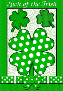 Luck of the Irish St Patricks Polka Dot Shamrock St Pat Garden Flag 12 x 18