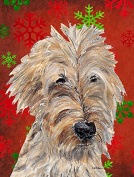 Goldendoodle Red Snowflake Christmas Flag Garden Size