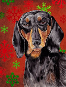 Dachshund Red and Green Snowflakes Holiday Christmas Flag Garden Size