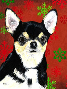 Chihuahua Red and Green Snowflakes Holiday Christmas Flag Garden Size