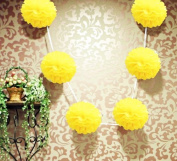 15cm Yellow Hanging Tissue Paper Flower Pom Pom, Party Garland Decoration