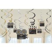 Movie Foil Swirl Hanging Decorations