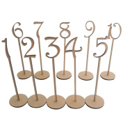 OULII Wodden Table Numbers with Holder Base for Wedding or Home Decoration, 1-10, Pack of 10