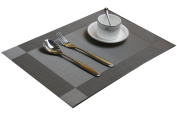 DinaChef Table Placemats for Kitchen or Dining Room, Quality Thermal Bonded Edges, Reversible and Waterproof, Rectangle Place Mat Set, Woven Best Vinyl Placemat for Heat Protection, Set of 4 Mats