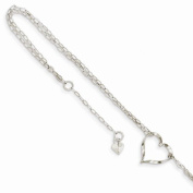 Solid 14k White Gold Double Strand Love Heart Anklet 23cm