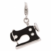 925 Sterling Silver Enamelled 3-D Sewing Machine w/ Lobster Clasp Charm - Amore La Vita Collection