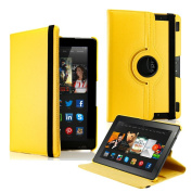 GEARONIC 360 Degree Rotating PU Leather Flip Case Smart Cover With Swivel Stand for New Kindle Fire HDX 23cm - Yellow