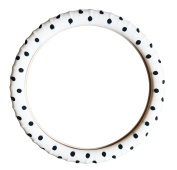 New SILICONE-White Polka Dot Steering Wheel Cover-With Negative ion Tech -Limited Edition! By Cameleon