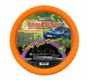 New SILICONE ORANGE Car Steering Wheel Cover with Negative Ion! By Cameleon