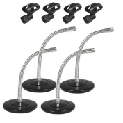 Podium Pro Tabletop Microphone Stands and Mic EZ Clips Gooseneck DJ Podcast 4 Stand Set MS3MC2-4S
