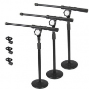 Podium Pro Tabletop Boom Microphone Stands Mic EZ Clips Adjustable DJ Drum 3 Stand Set MS4MC2-3S