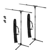 Podium Pro Adjustable Steel Microphone Stands, Booms, EZ Clips and Bags 2 Stand Set MS2SET11-2S