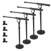 Podium Pro Tabletop Boom Microphone Stands Mic Clamp Clips Adjustable DJ Drum 4 Stand Set MS4MC1-4S