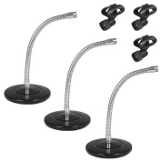 Podium Pro Tabletop Microphone Stands and Mic EZ Clips Gooseneck DJ Podcast 3 Stand Set MS3MC2-3S