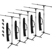 Podium Pro Adjustable Steel Microphone Stands, Booms, EZ Clips and Bags 5 Stand Set MS2SET11-5S