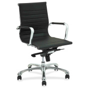 Lorell Modern Chair Series Mid-back Leather Chair -