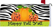 Happy Fall Y'All Pumpkins with Zebra Stripe Harvest Holiday Mailbox Wrap Cover