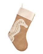 Coastal Appliqued Seahorse Icon Burlap Fabric Christmas Holiday Stocking