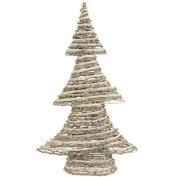 47cm Winter Light Brown and White Glittered Rattan Decorative Christmas Tree - Unlit