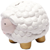 C.R. Gibson Ceramic Bank, Pink and Gold Sheep Multi-Coloured