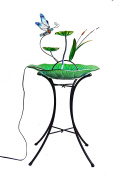 Continental Art Centre Dragonfly Fountain, Includes 46cm Glass Bowl, 60cm Metal Base
