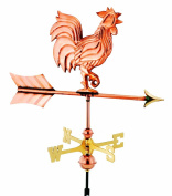 Good Directions Weathervanes 50cm . Polished Copper Rooster Garden Weathervane with Garden Pole 802PG