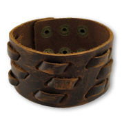 Distressed Brown Leather Wristband with Woven Accents