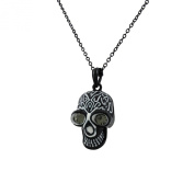 Necklace with Black and White Skull Pendant Rhinestone Eyes