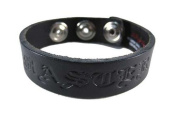 Black Leather Embossed `Master` Bracelet Wristband