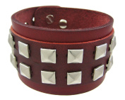 Brown Leather 2 Row Pyramid Stud Wristband Wrist Band