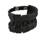 Black Leather Double Snap Wrap Bracelet Wrist Band Wristband
