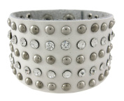 Chrome Studded White Leather Rhinestone Wristband