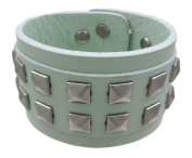 Grey Leather 2 Row Pyramid Studded Wristband Wrist Band