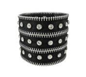 Black Nylon Rhinestone Zipper Strip Wristband