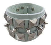 Green Leather Spiked & Studded Wristband Wrist Band