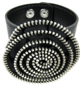 Black Vinyl Spiral Zipper Strip Wristband