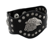 Black Leather Studded Eagle Head Bracelet Wristband