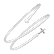 Cross Spiral Bangle with Diamond in Sterling Silver