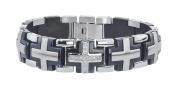 Men's Solid Cross Diamond Bracelet in Stainless Steel