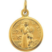 14k Yellow Gold St. Francis Of Assisi Medal 10.15x12mm